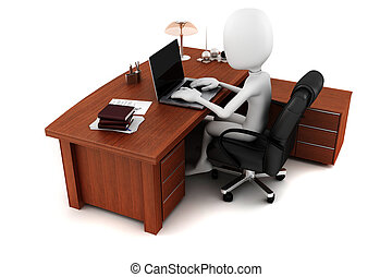 3d man working at his desk