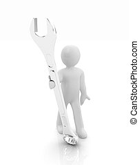 3d man - wrench in hands