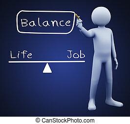 3d man writing work life balance