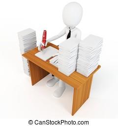 3d, man, zakenman, met, tons, van, werken, om te doen