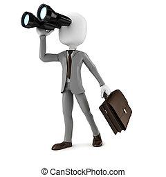 3d, man, zakenman, vasthouden, een, kijker, grondig, voor,...