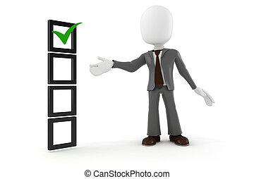 3d, man, zakenmens , en, controleren lijst, op wit,...