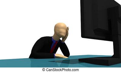 3d-man, zittende , voor, een, scherm