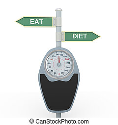 3d, mangiare, dieta, segno strada