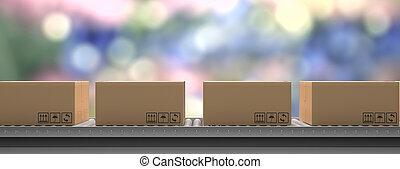 3d, maniement, convoyeur, belt., concept., illustration, distribution