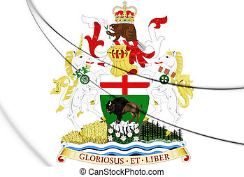 3D Manitoba Coat of Arms, Canada. 3D Illustration.