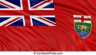 3D Manitoba Flag - Rendering of flag Manitoba with fabric...