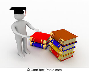 3d manl - graduate and books .3d rendered illustration