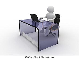 3d, mann, arbeiten, laptop-computer