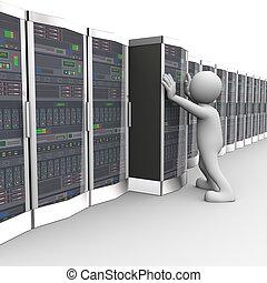 3d, mann, arbeitende , in, computernetzwerk, serverraum
