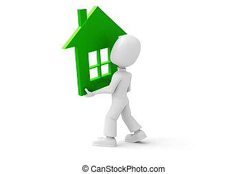 3d, Mann, Besitz, A, Groß, Grünes Haus
