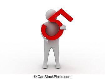 3d, mann, halten, fünf