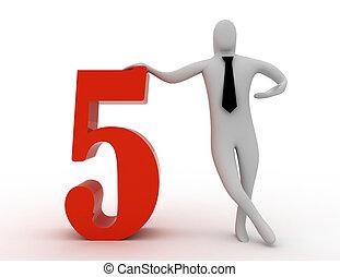 3d, mann, halten, zählen fünf