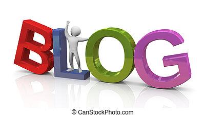 3d, mann, mit, bunte, blog