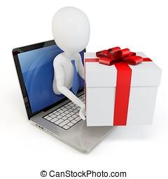 3d, mann, mit, geschenk, paket, begriff