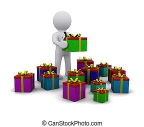 3d, mann, mit, geschenke