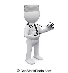 3d, mann, mit, stethoskop
