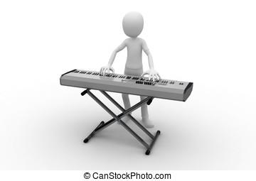3d, mann, mit, tastatur