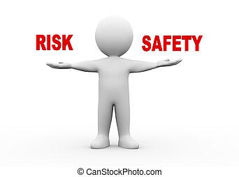 3d, mann, offene hände, risiko, sicherheit
