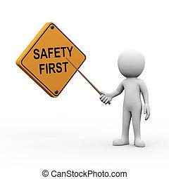 3d, mann, präsentieren, erklären, sicherheit zuerst