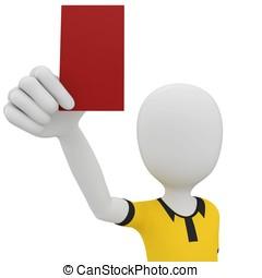 3d, mann, schiedsrichter, mit, rote karte
