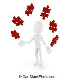 3d, mann, spielende , mit, puzzlesteine