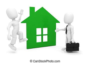 3d, Mann, Und, A, Grünes Haus