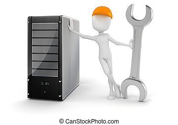 3d, mann, und, server, hardware, wartung