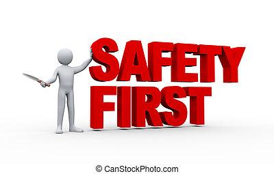 3d, mann, und, sicherheit zuerst, begriff