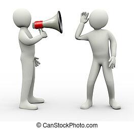 3d, mann, zuhören, zu, megaphon, nachrichten, ankündigung