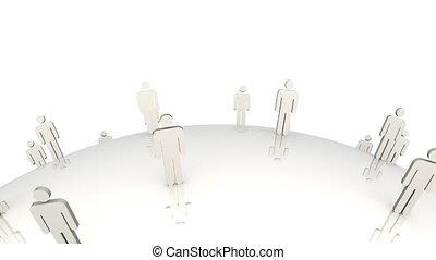 3d, mannen, staand, op, een, globe, in, movem
