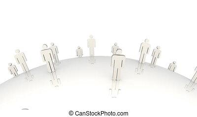 3d, mannen, staand, op, een, verhuizing, globe