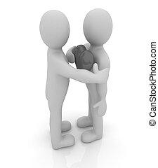 3d, mannen, vasthouden, zijn, hand, om te, zijn, hart, en, 3d, mensen, omhelzing, ., concep