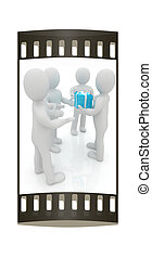 3d mans gives gifts. The film strip