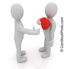 """3d mans holding his hand to his heart. Concept: """"From the heart"""""""