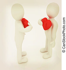 """3d mans holding his hand to his heart. Concept: """"From the heart"""" . 3D illustration. Vintage style."""