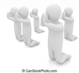 3d mans on his knees. Christian prayer concept