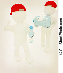 3d mans with a water bottle with clean blue water. 3D illustration. Vintage style.