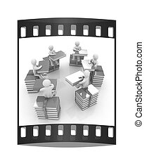 3d mans with book sits on a colorful glossy books . The film strip