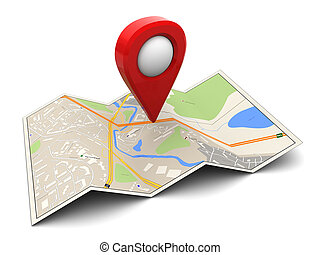 3d map - 3d illustration of map with red target pin
