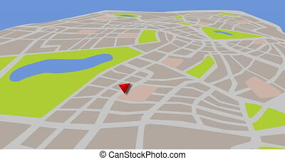 3D map animation for taxi or cab agency with popping out pin bubble. 4k map background. GPS concept