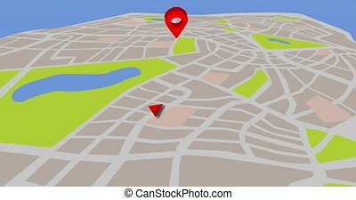 3D map animation for taxi or cab agency with turning pin bubble. 4k map background. GPS concept.