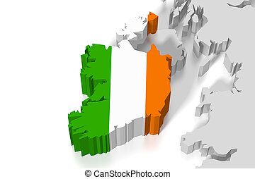 3D map, flag - Ireland