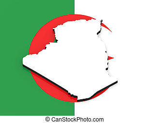 3D map of Algeria on the national flag