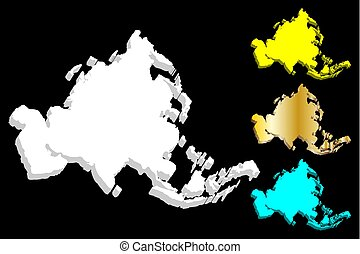 3D map of Asia continent