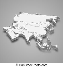 3d map of Asia Template for your design