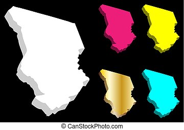 3D map of Chad (Republic of Chad) - white, yellow, purple,...