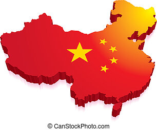 3D Map of China with Flag - Red Flag in a 3D map of China