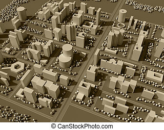 3d map of city in sepia tones