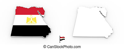 3D map of Egypt white silhouette and flag
